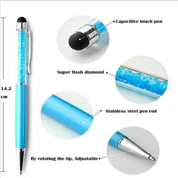 (1 adet/satış) yaratıcı kristal kalem elmas tükenmez kalemler kırtasiye Ballpen Stylus kalem dokunmatik kalem 11 renkler yağlı siyah dolum