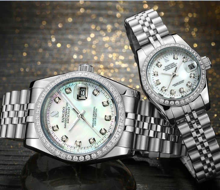 SANGDO Milk- white dial Automatic Self-Wind movement High quality Luxury Couples watch Mechanical watches 028S