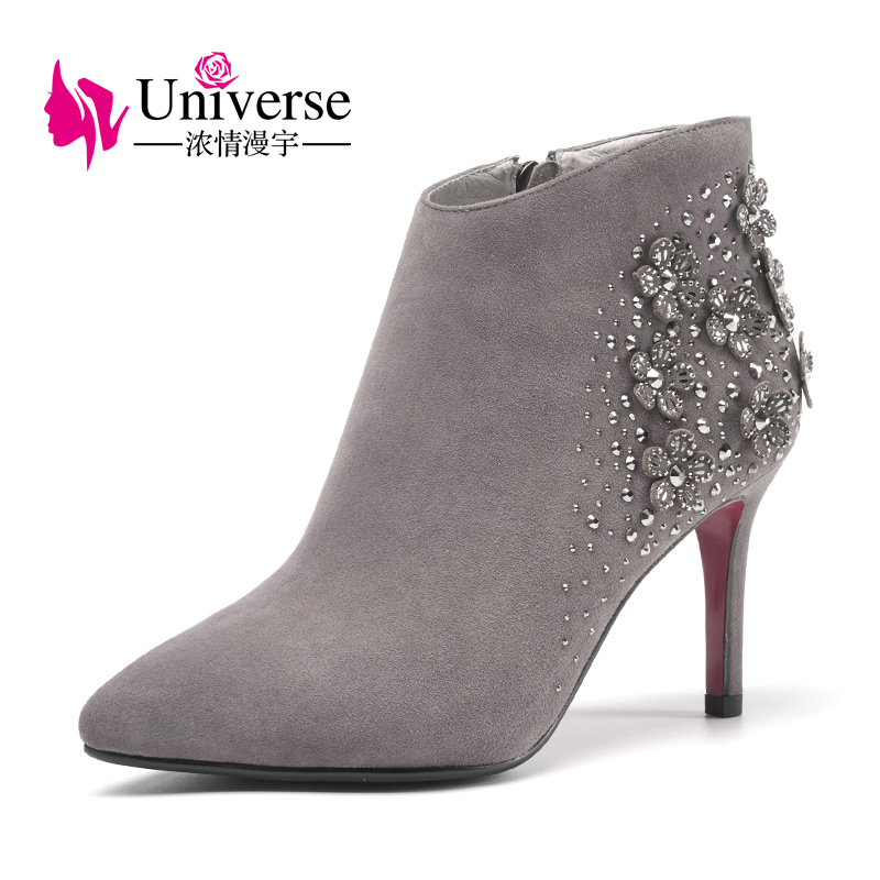 Universe elegant crystal flower decorated thin heel ankle boots women winter boots suede leather shoes G330