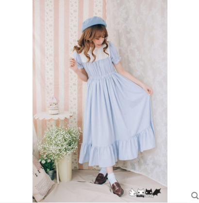 Alice Mince D'origine Lolita Ciel 0072 Dolley Dolly Bord De Mousseline Robe Lotus Delly Long Soie Feuille Noir pu Princesse Sweet Black Femme 0wkX8nOP
