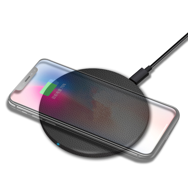 MIXZA Y01 Leather magnet Qi Wireless Charger Fastfor Charger iPhone 8 / X Charging Pad for Samsung Galaxy S8 phone charger