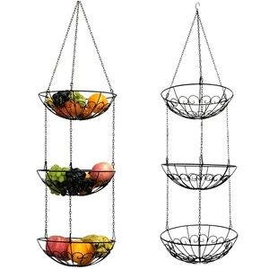 Image 2 - Stockage de légumes suspendus panier de fruits 3 niveaux cuisine Multi usage support maison fer Art organisateur Style moderne support avec chaîne