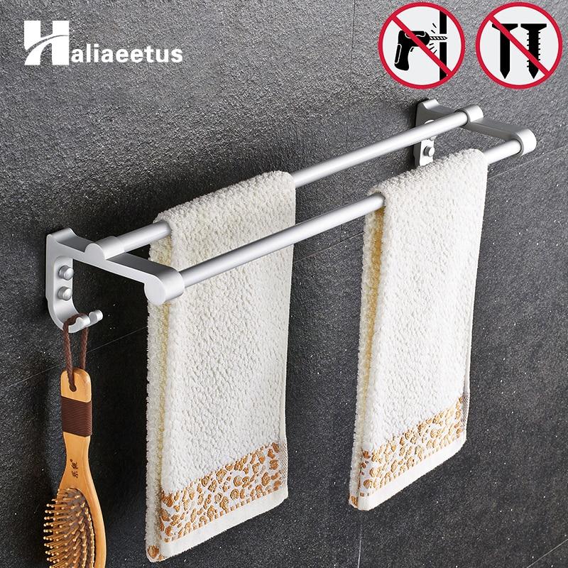 Nail Free Powerful Suction Toilet Towel Rack Pendant Bathroom 50CM Double Towel Bar bathroom Accessories Never Rust sanitary ware ffcf6588 towel bar bathroom accessories metal pendant