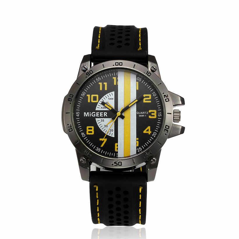 MIGEER 2018 homme montre haute qualité hommes mode Silicone bracelet Sport Cool Quartz heures poignet analogique montre erkek kol saati