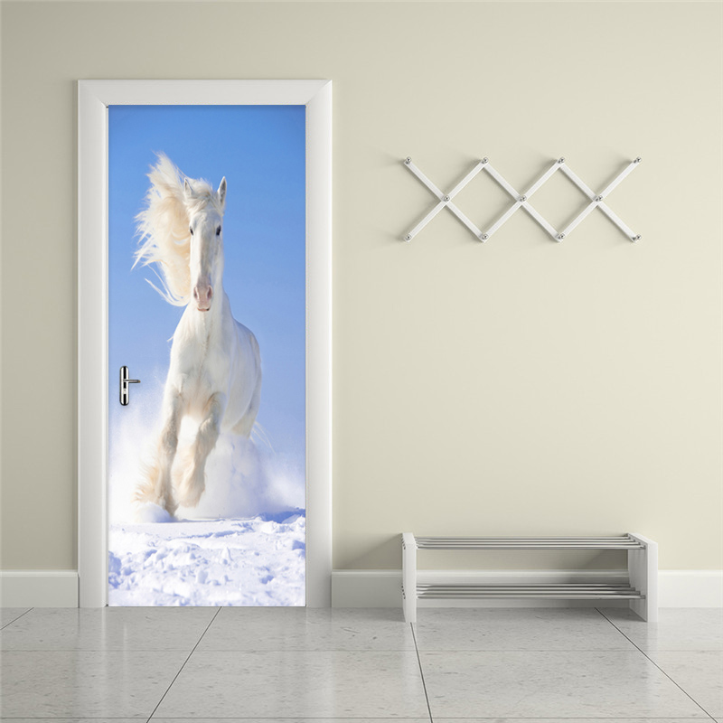 Modern Simple White Horse Photo Wall Mural Door Sticker Living Room Bedroom Study Creative DIY Home Decor PVC Wallpaper Stickers creative mural chinese horse to success