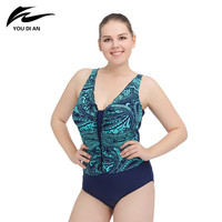 One Piece Sexy Beach Large Size New Printing Patterns Female Swimsuit Blue Suit Bottom Top