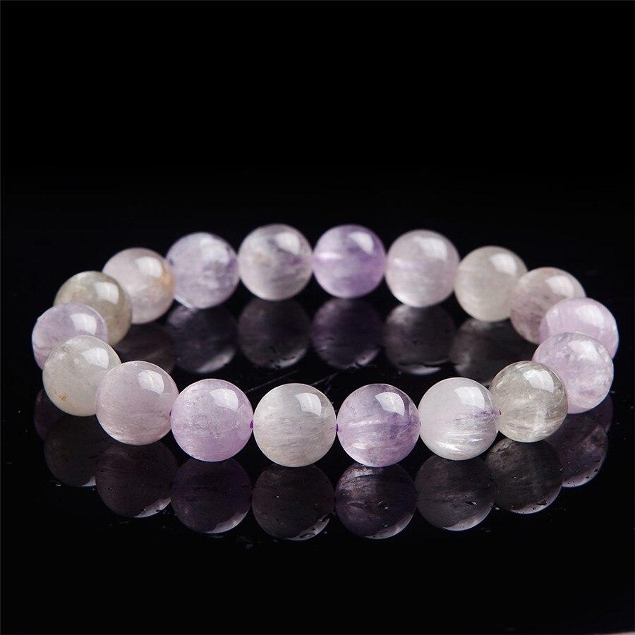 Bracelets en cristal de Quartz véritable naturel Kunzite 11mm pierres précieuses de guérison translucides Bracelet de perles rondes extensible Fitness AAAAAA