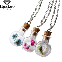Military canteen shape glass bottle pure color flower pendant necklaces silver plated chain for women jewelry.jpg 250x250