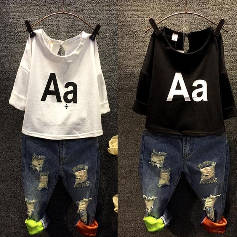 Children Clothing Set boys long sleeve T-shirt for girls + Jeans Denim Pants Two Piece Set Broken Hole Jeans for boys sport suit
