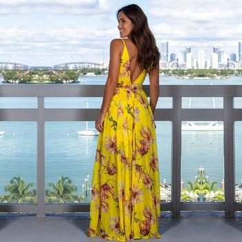 Женское длинное платье на бретельках с цветочным принтом, летнее платье макси в стиле бохо с v-образным вырезом, повседневный сарафан 6