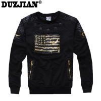DUZJIAN The New American Flag Printed Men S Round Neck Ribbed Sweater Baseball Service Sweatshirt Palace