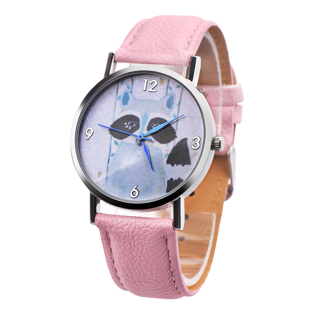 Children Civet Cats Retro Design Leather Band Analog Alloy Quartz Wrist Watch