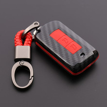 цена на Carbon fiber key case fit for Mitsubishi Outlander key bag Pajero ASX key cover Lancer-ex key shell
