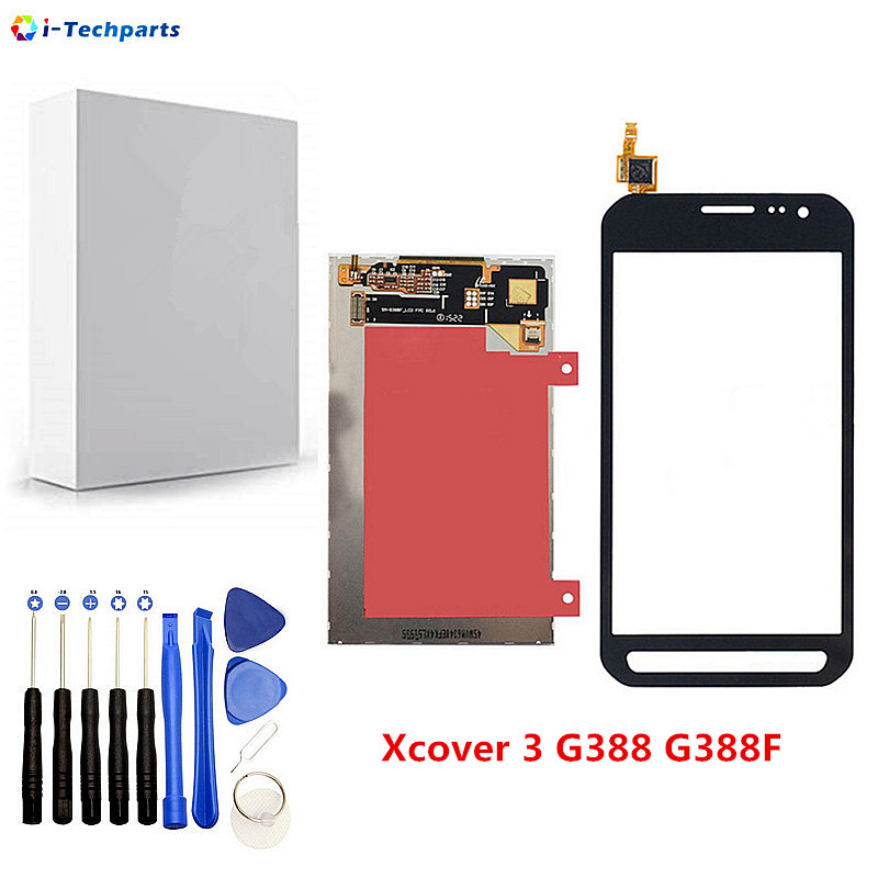 Original New LCD Display + Touch Screen Digitizer Sensor Front Glass Panel For Samsung Galaxy Xcover 3 SM G388F G388,Black White
