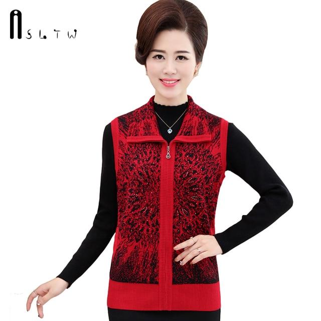 ASLTW Hot New Autumn Winter Fashion Female zipper lapel Sweater Vest Crocheted Flowers Wool Vest Women Waistcoat Jacket