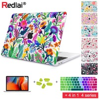 Redlai Colorful Flowers Pattern For Macbook Air 13 case Pro 13.3 15.4 inch Retina A1706 A1707 with Keyboard cover Screen Film