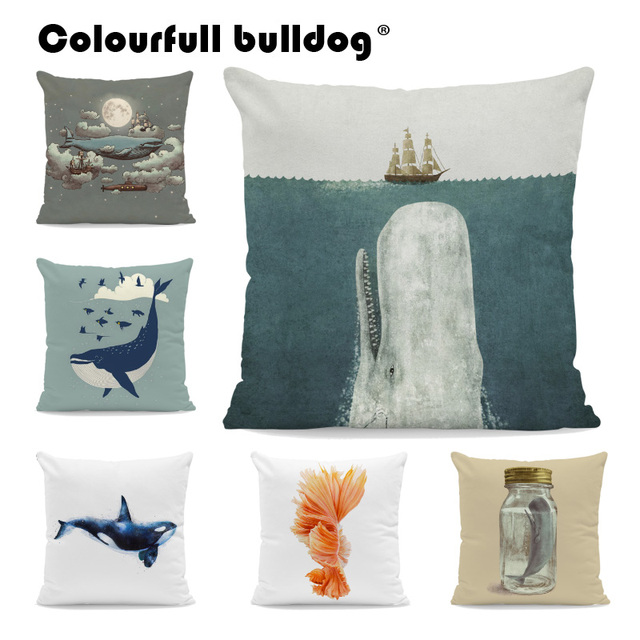 cushions living room designs with corner fireplace killer whale seahorse pillow nautical goldfish pillowcase ethnic car decor throw pillows 17 inch velvet