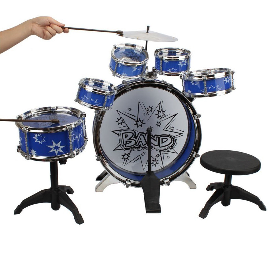 Hot Sale 11pcs Kids Roll Drum Musical Instruments Band Kit Children