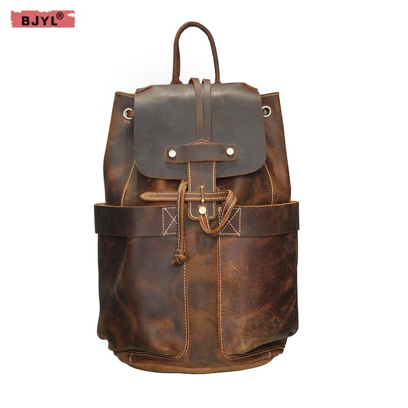 BJYL Men Backpacks Vintage top layer crazy horse leather Travel backpack genuine leather men's shoulder bags цена 2017