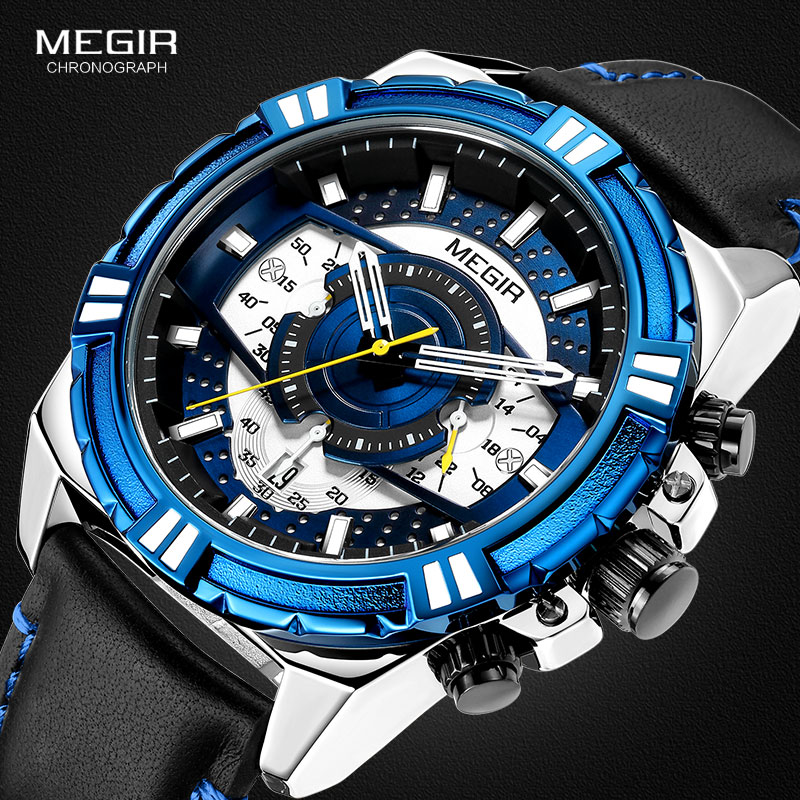 MEGIR Men s Leather Strap Army Sports Casual Watches Waterproof Luminous Army Wristwatch Man Relogios Masculino