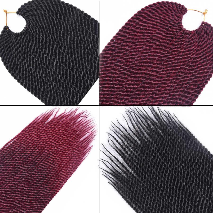TOMO Senegalese Twist Häkeln Braid Haar 30 Wurzeln Synthetische Flechten Haar Verlängerung Hohe Temperatur Faser Häkeln Haar Schwarz Rot