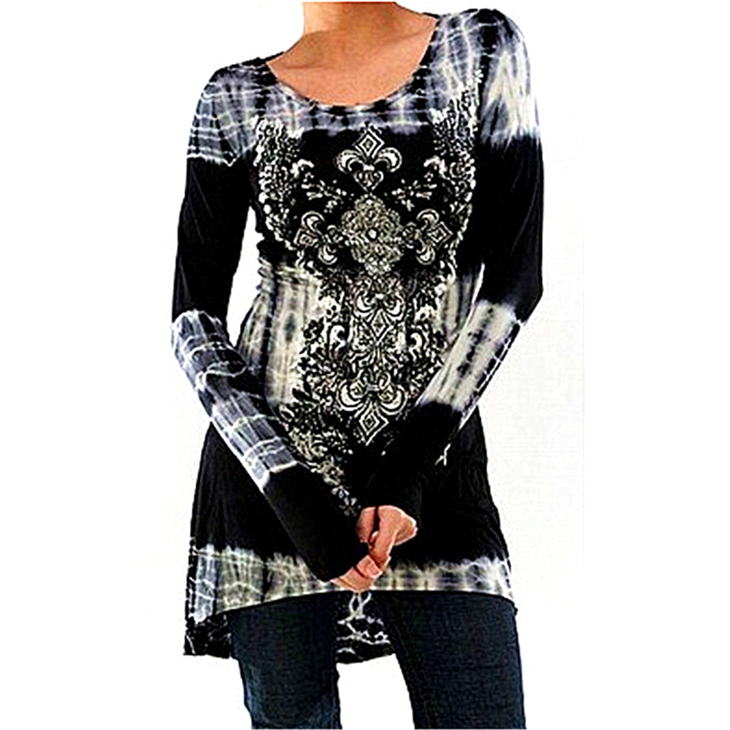 Vintage Floral Printed Women Tunic Tops Plus Size 3XL 4XL Casual Loose Long Sleeve Ladies Tops Blouse Shirt Blusas Femininas 1