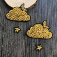Haute qualité broche mode vérification broderie nuages d'étoiles le motif indien soie cuivre fil