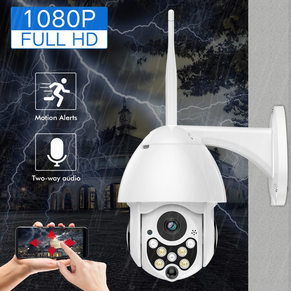 SDETER 1080P 2MP Wireless IP Camera Wifi Speed Dome PTZ Outdoor IP66 Onvif Two Way Audio IR Night Vision CCTV Security Camera