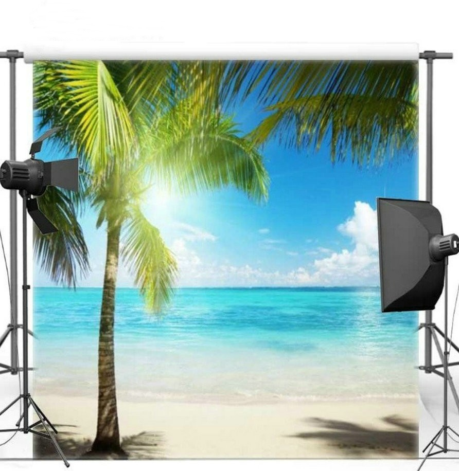 Blue Sky White Clouds Ocean Sea Beach Palm Tree backdrops Vinyl cloth High quality Computer print wedding background