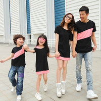 2016 New Family Matching Outfits Spring Summer Family Look Matching Clothes Mother Daughter Mom Sloping Shoulder