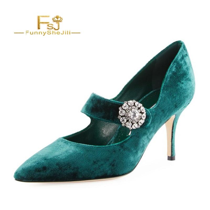 16 Ee Fsj Tacones Mujer Mary Grande De Aguja uu Turquesa Otoño Zapatos Tamaño Jane Elegante Bombas Verde Fsj01 Sexy Terciopelo Hebilla Rhinestone wHTzxFqZx