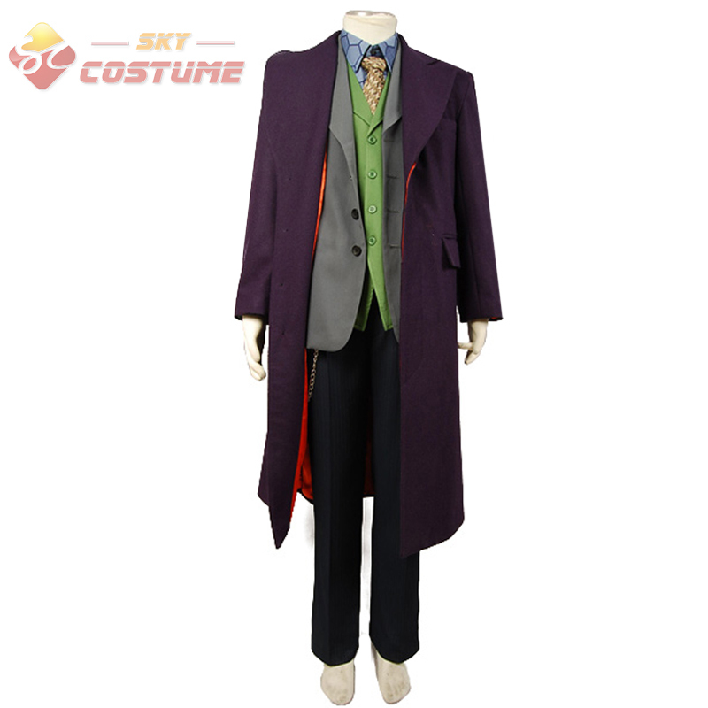 Batman The Dark Knight Joker Cosplay Trench Coat+Blazer+pants+Vest+Shirt+Tie 6 Pc Full Set Cosplay Joker Costume