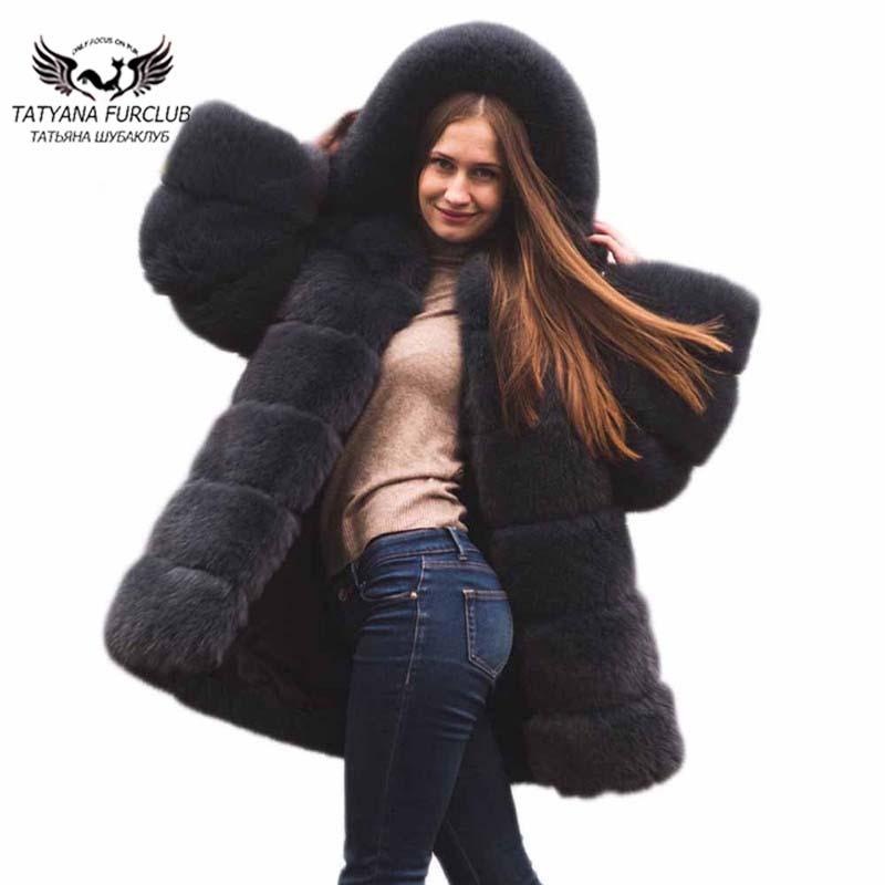 Outwear Manteau Chaude Prochainement Femmes Les Réel Red dark Doux Chaud Manteaux black Dames Pour Nouveaux Gray Renard D'hiver Type Fourrure Tatyana 2018 Moyen Long De OTERUwwAq
