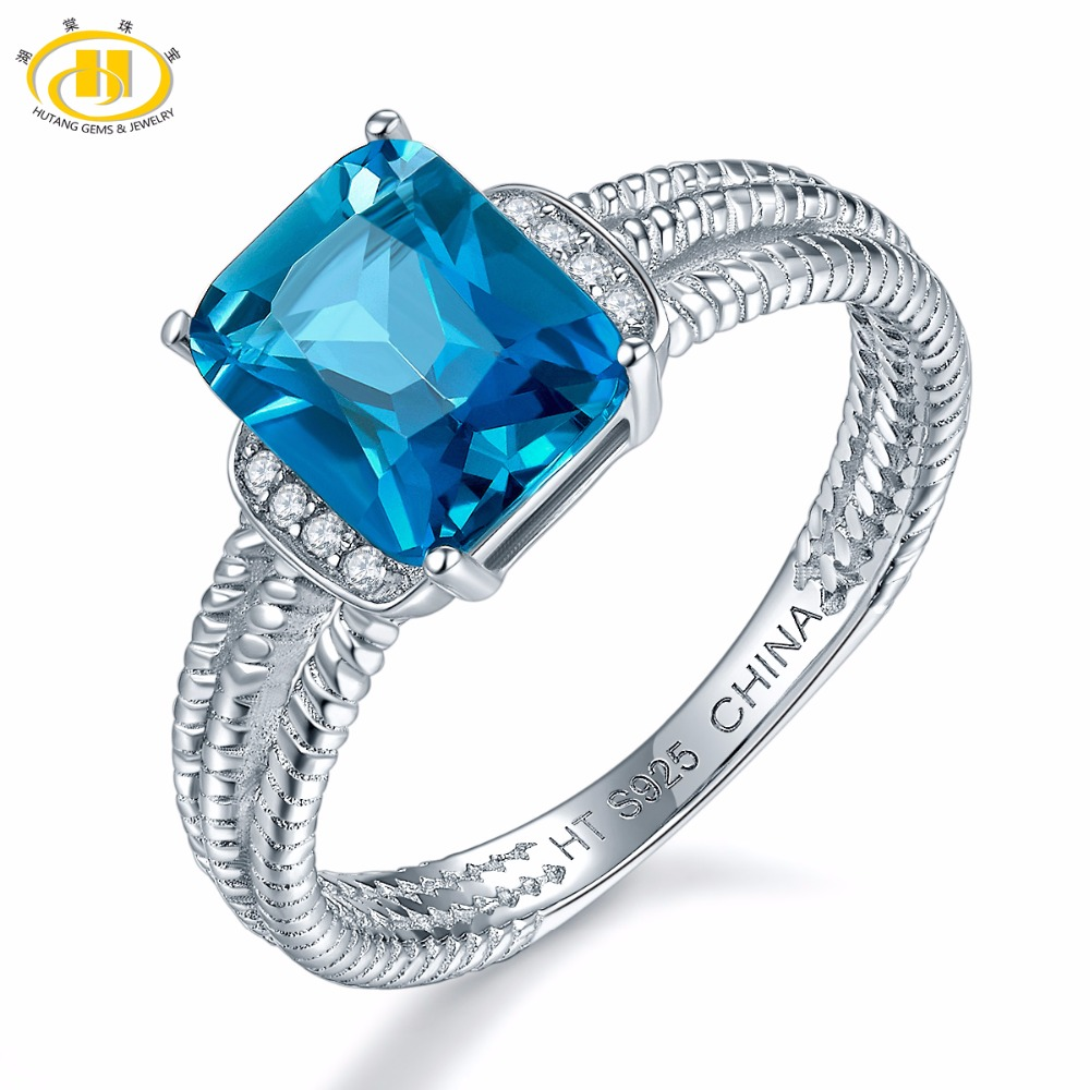 Hutang Engagement Ring Natural Gemstone London Blue Topaz Solid 925 Sterling Silver Black Oxidized Fine Stone Jewelry For Women