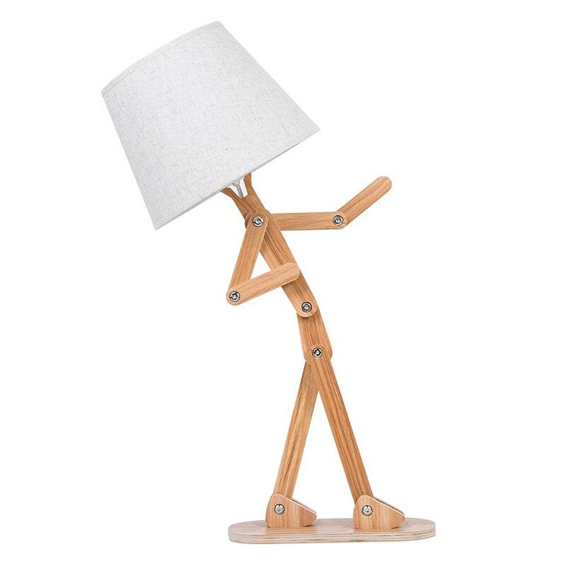 Nouveauté Unique bricolage lampe de bureau réglable Table de lecture lumière bras oscillant bois chevet Table de chevet lampe pour enfants chambre salon