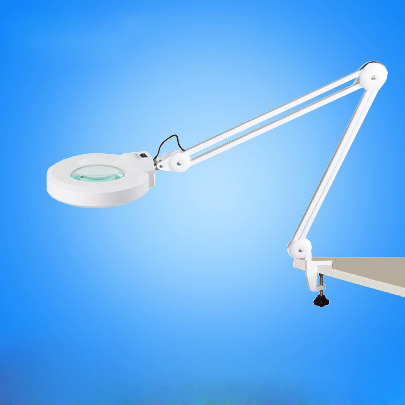 220V 10X Large Clip-on Magnifying Glass Lamp Magnifier with Green Optical Glass Folding Stand for PCB Precision Parts Inspection 220v 20x clip on large magnifying glass lamp magnifier with white optical glass folding stand for pcb precision parts inspection