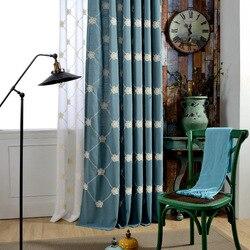Europa styl wiejski tkanina bawełniana i lniana kurtyna kurtyna haftowane kwiatowe wzory zasłona zaciemniająca