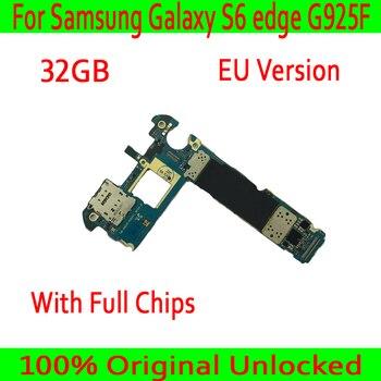 Version EU pour carte mère Samsung Galaxy S6 edge G925F avec système Android, Original débloqué pour carte mère Samsung S6 G925F
