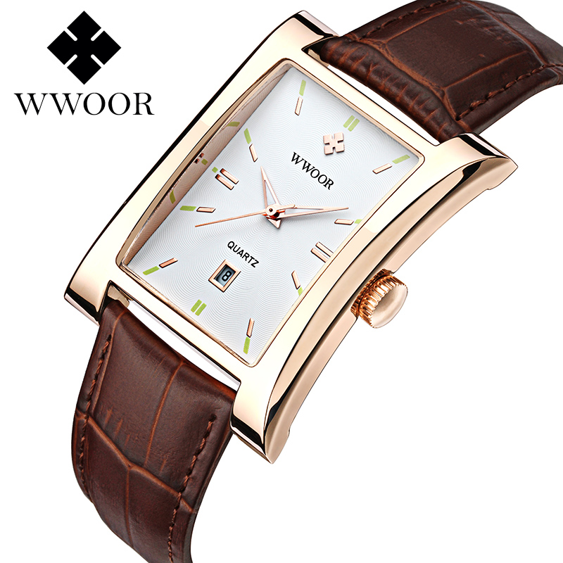 WWOOR Men's Ultra thin Square Quartz luxury Watches leather