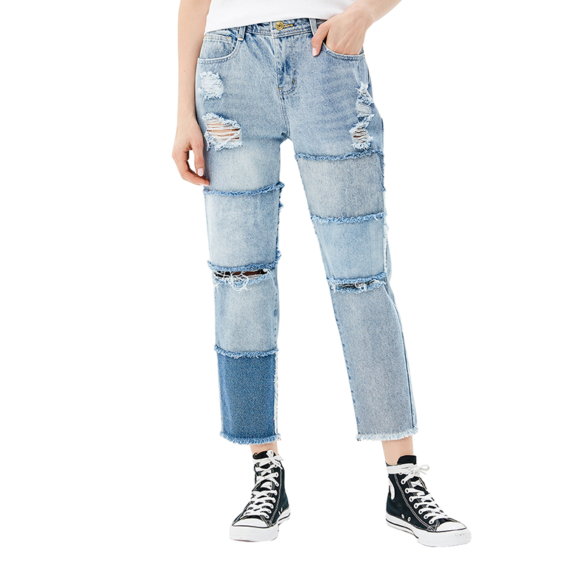 Jeans MODIS M181D00161 women pants  clothes apparel for female TmallFS autumn new 2017 boyfriend hole ripped jeans women pants cool denim vintage straight jeans for girl low waist casual pants female