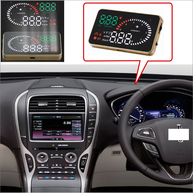 Car HUD Head Up Display For Lincoln Navigator Continental MKZ MKX Cent  - Safe Driving Screen Projector  / OBD II Connector president lincoln ii asc mod