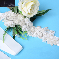 BRITNRY New Arrival Crystal Belt Flowers Pearl Belt Ribbons Sashes Formal Dress Vintage Crystal Belt(260x4cm)