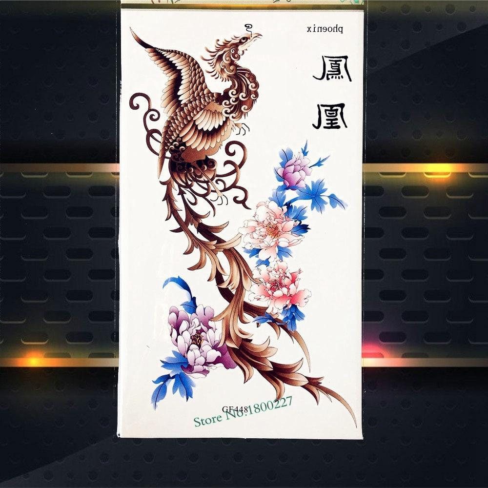 Flying Phoenix nirvana Temporary Tattoo Kids Body Art ARm Tattoo Stickers PGF448 Sexy WOmen Fake Flash Tattoo Henna Flower