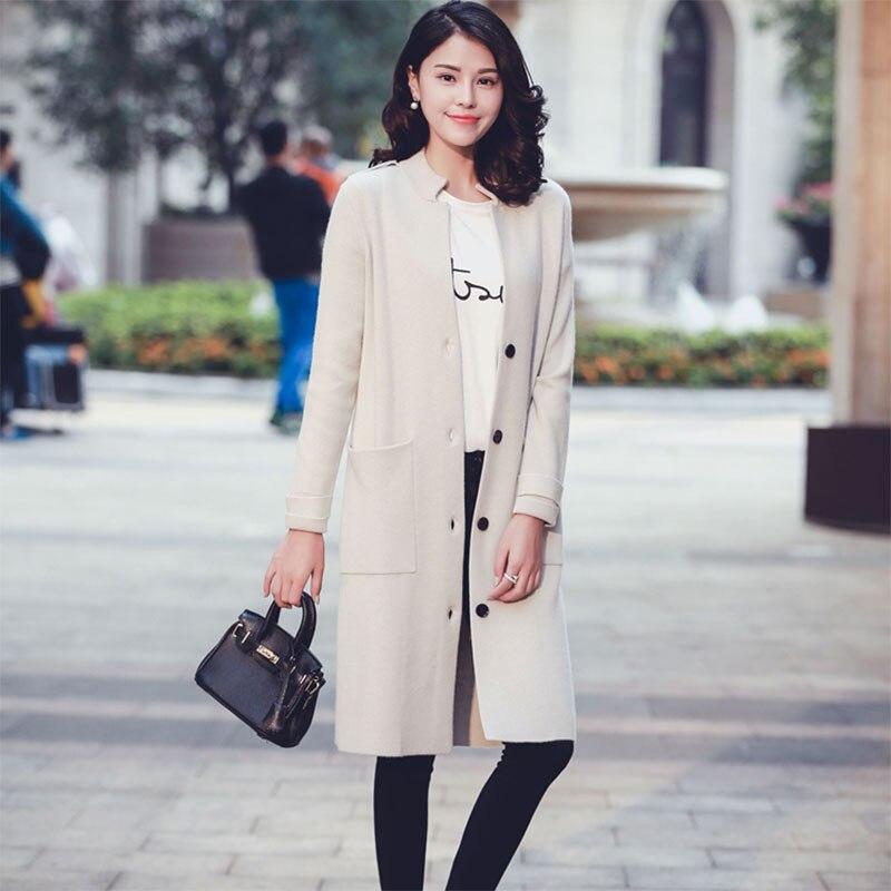100% Cashmere Thick Winter Lady's Coats Women's Knitting Overcoat Fashion Mandarin Collar Long Sleeve Women's Coat With Pocket