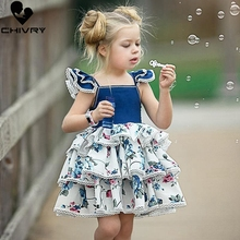 Chivry 2019 Little Girls Dress Lace Floral Layered Ball Grown Princess Kids Baby Grils Birthday Party Cake Dresses