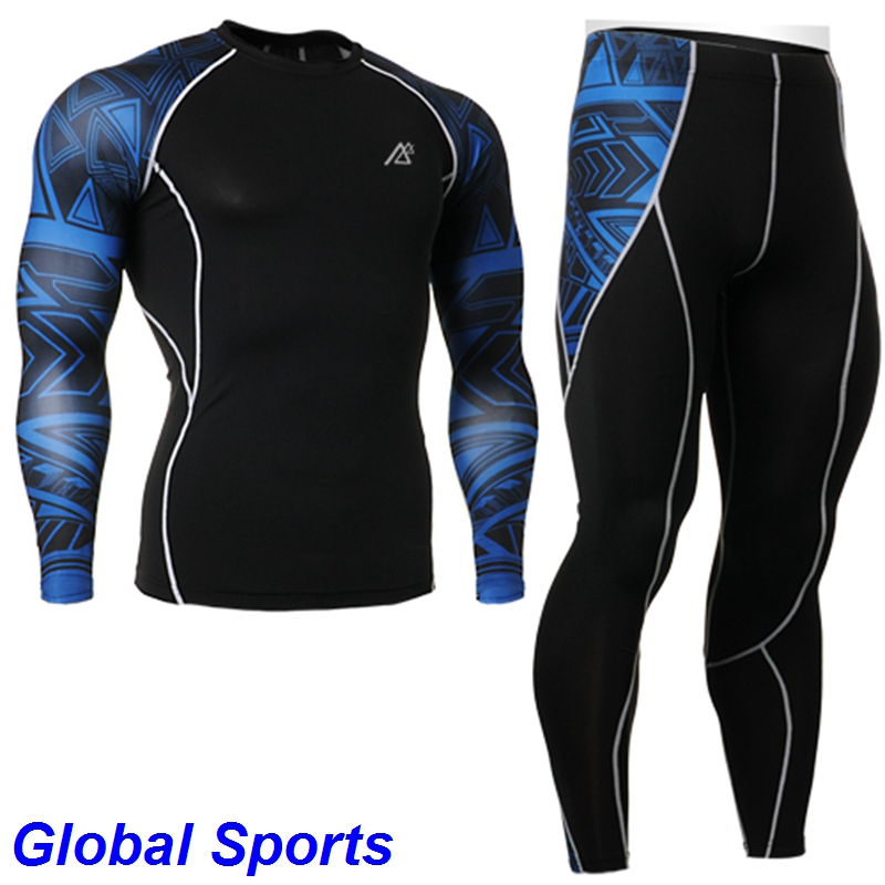 2017 New Arrivals mens Long Sleeves Compression Shirts sets blue Compression tights suit Fitness Running GYM Yoga Sets
