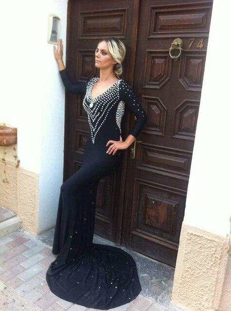 56eac12166544 US $211.0  Long Sleeve Mermaid prom Dress Pearl Beaded Sexy Open Back Black  Chiffon Prom gown Vestido de festa x4466-in Prom Dresses from Weddings & ...