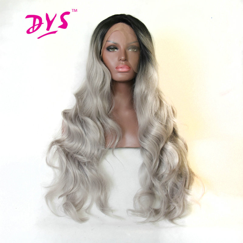 Deyngs Ombre Lace Front Wigs For Black Women Long Body Wave Lace Hair Two Tone Black To Gray Color Synthetic Wig Heat Resistant