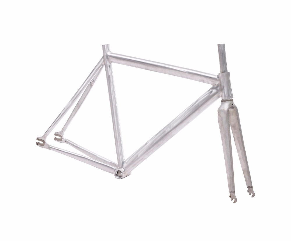 Fixed Gear Bike Frame 54cm No Finish Smooth Welding Raw Bike Frame Fixie Bicycle Frame Aluminum Alloy Frame Steel Fork