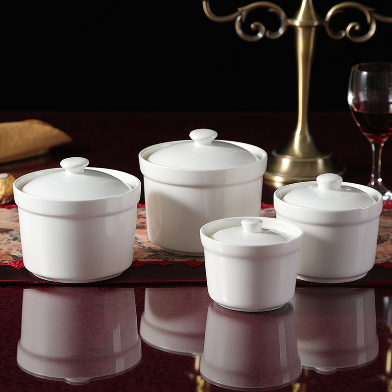 Ceramic water stew stewed bird's nest shark's fin snow clam double cover ears Zhongdun soup tonic soup pot with lid to the pot